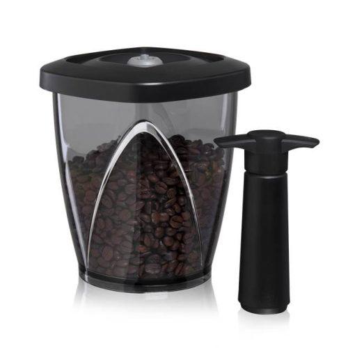 Kávétároló vákuum edény 1,3 liter pumpával fekete