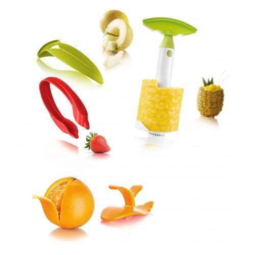 Gyümölcshámozó szett (eper, narancs, sárgadinnye, ananász)